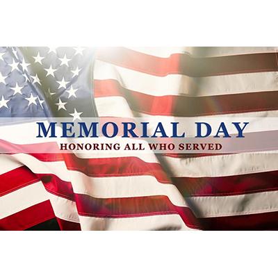 Memorial Day Closure May 31
